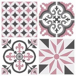 Stickers Carreaux Cuisine : sticker carreaux de ciment ginette rose ~ Preciouscoupons.com Idées de Décoration