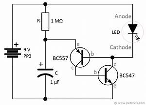 led flasher using bc547 and bc557 transistors With singleledcircuitgif