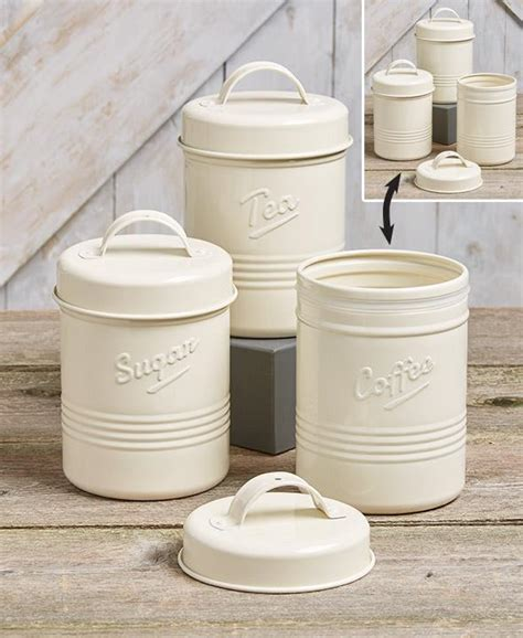 country kitchen canisters set of 3 white metal vintage kitchen embossed coffee 3601