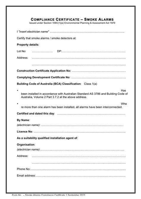 certificate of compliance template smoke alarms compliance certificate template in word and pdf formats