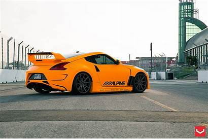 370z Nissan Orange Tuning Vossen Matte Wheels