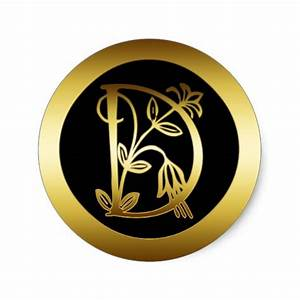 gold floral monogram letter d round stickers zazzle With letter d stickers