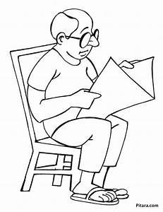 Reading newspaper – Coloring page | Pitara Kids Network