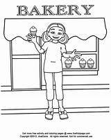 Coloring Pages Bakery Colouring Goods Baked Sheets Printable Template Kid Baking Sketch sketch template