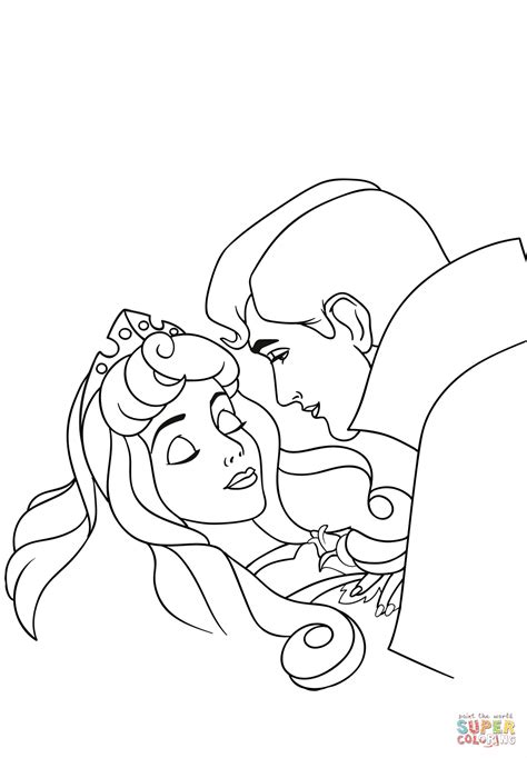 phillip kisses aurora coloring page  printable coloring pages