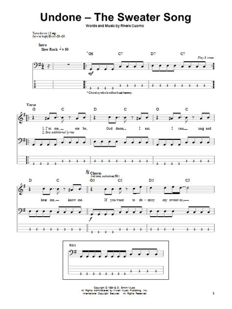 weezer sweater song undone the sweater song by weezer bass tab guitar