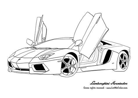 Lamborghini Aventador Cars Coloring Page