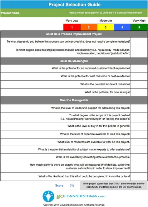 Project Template Project Selection Guide Template Exle