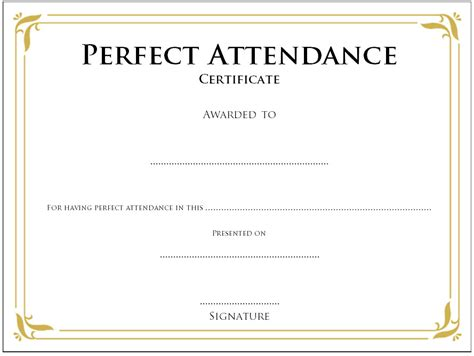 printable perfect attendance certificate template designs