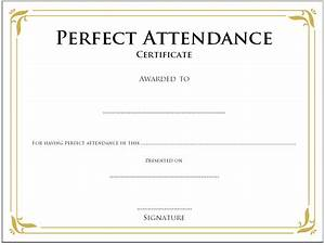 Perfect Attendance Certificate Template Free Template For Perfect Attendance Certificate Image Collections Certificate Design And Template