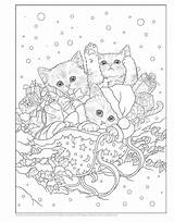 Coloring Pages Holiday Christmas Kitty Kittens Santa Cat Colouring Sheets Adult Kitties Books Printable Para Helpers Mandala Colorear Teacup Kitten sketch template