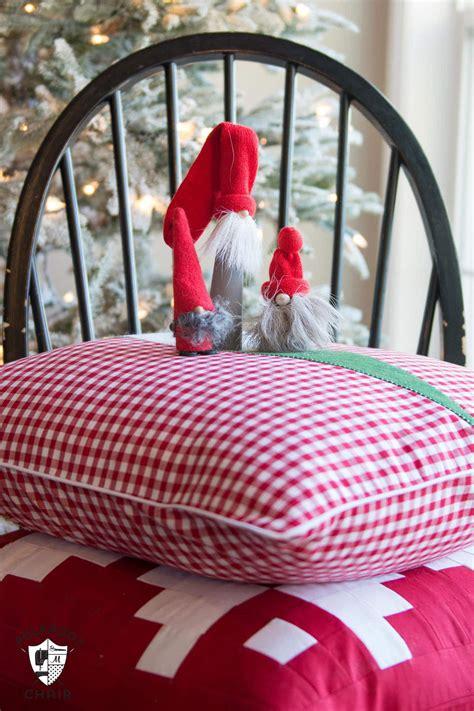 tomte christmas gnome pillow pattern  polka dot chair