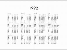 Calendar 1992 printable yearly calendar