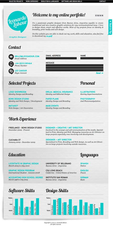 awesome resume designsawesome resume designs 50 awesome resume designs that will bag the hongkiat