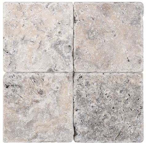 Silver Travertine Tumbled 4x4