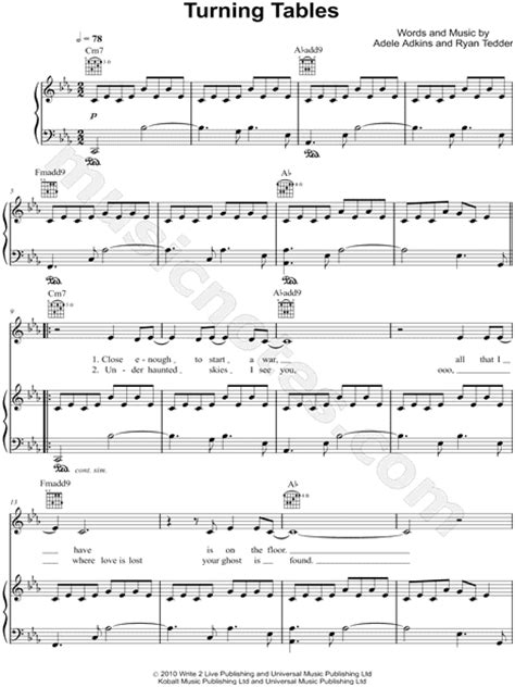 turning tables sheet music adele quot turning tables quot sheet music in c minor