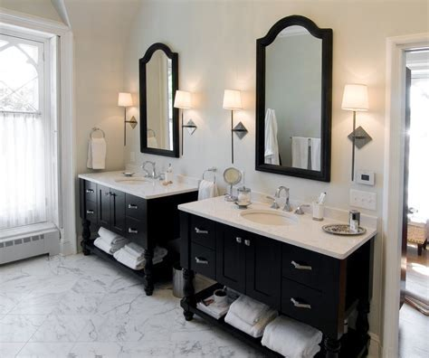 seattle double vanity bathroom farmhouse with circle