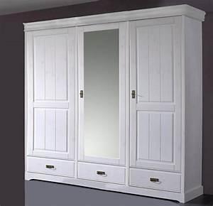 Kleiderschrank 3 Türig Weiß : landhaus kleiderschrank mit spiegel wei gewachst kiefer neapel 3 t rig ~ Indierocktalk.com Haus und Dekorationen