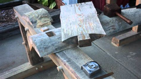 timber frame sitting bench   log slab  bench