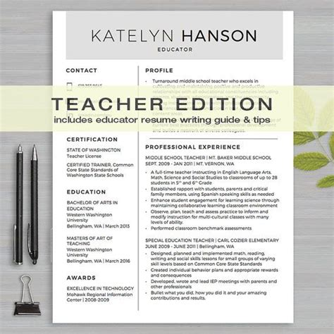 teacher resume template  ms word    page