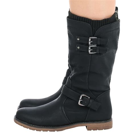 womens biker boots womens shoes ladies mid calf low heel winter sock riding