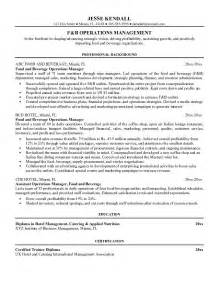 resume food service supervisor exle food and beverage operations manager resume sle