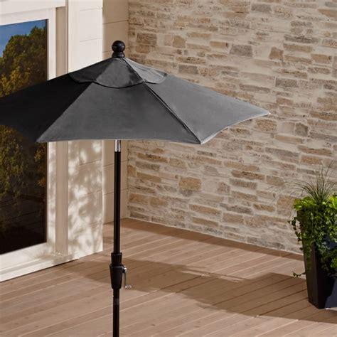 sunbrella charcoal patio umbrella  tilt black frame crate  barrel