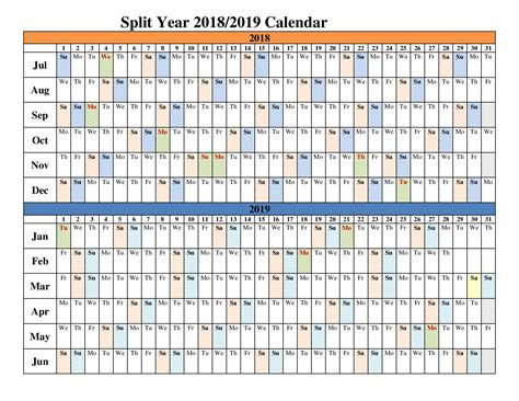 split year calendars blank templates calendar office