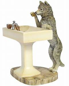 Wolf bathroom accessories hautman brothers howling wolf for Wolf bathroom accessories