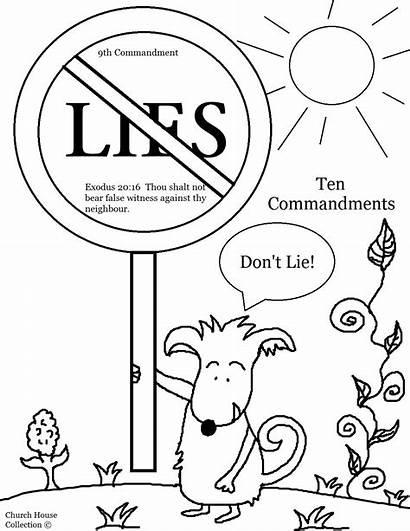 Coloring Commandments Lie False Shalt Thou Pages
