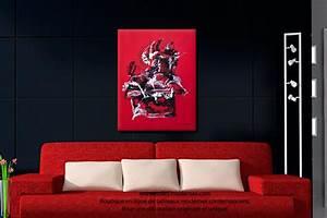 Tableau Moderne Salon : tableau rouge et noir r flexion grand format vertical ~ Teatrodelosmanantiales.com Idées de Décoration
