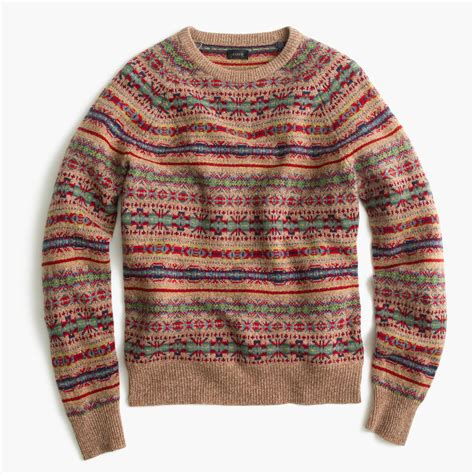 fair isle sweater womens j crew lambswool fair isle sweater in honey for lyst