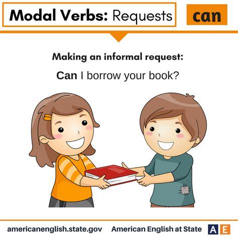 Grammar > verbs > modal verbs and modality. Modal Verbs: Requests - Can | Learn english, Writing ...