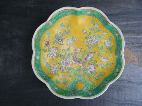 old 8 lobbed yellow plate nyonya bowl wedding malaysia for