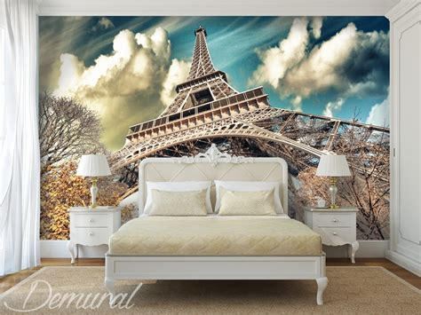 roofs  paris eiffel tower wallpaper mural