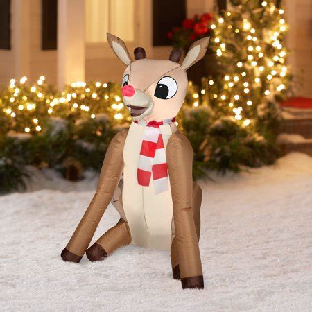 Rudolph Outdoor Decorations - airblown 4 rudolph lighted outdoor