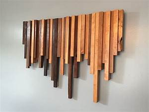 Wooden wall art cherry and walnut strips decor wood