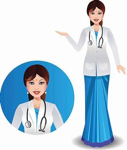 Doctor Indian Saree Vector Clip Illustration Illustrations