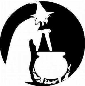 Scary, Pumpkin, Stencils, Witch, With, Cauldron