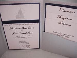 custom disney cinderella39s castle pocketfold wedding With personalised disney wedding invitations