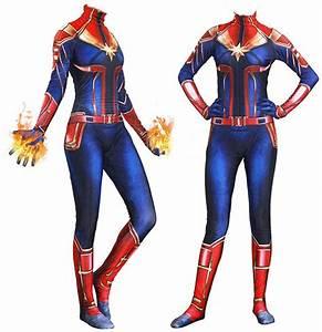 Amazon, Com, Yiranyijiu, Captain, Marvel, Superhero, Suit, Halloween, Cosplay, Costume, Carol, Da