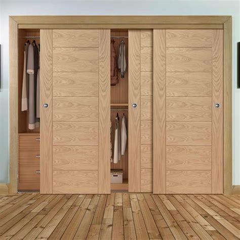 bespoke thruslide palermo flush oak  door wardrobe