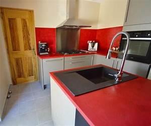 plan de travail cuisine en 71 photos idees inspirations With plan de travail cuisine rouge