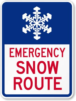 Emergency Snow Route With Graphic Sign , Sku K6704. Wood Carving Lettering. Npfl Logo. Punch Stickers. 4 Way Street Signs