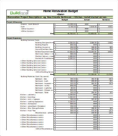 basic renovation budget template  renovation budget