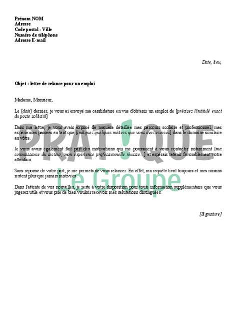 lettre de relance pour un emploi pratique fr - Modèle De Lettre De Relance Pour Un Emploi