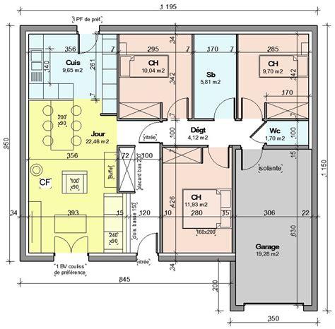 plan maison plain pied 2 chambres plan de maison 85m2 plain pied