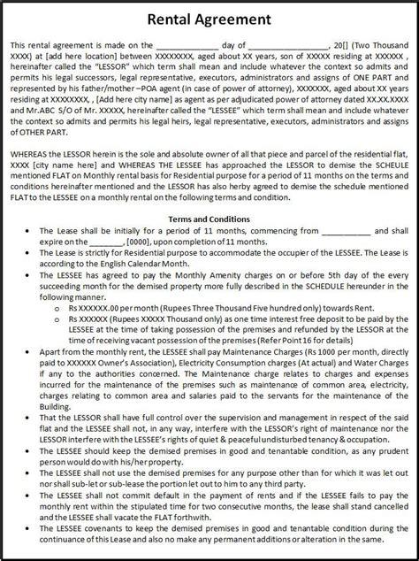 rental agreement rental agreement form printable forms