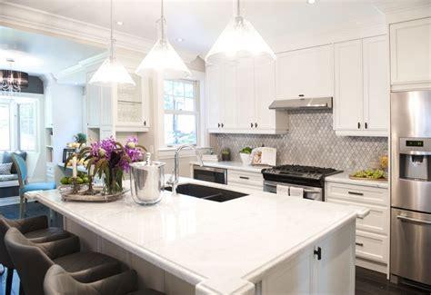 marble arabesque tile backsplash transitional kitchen