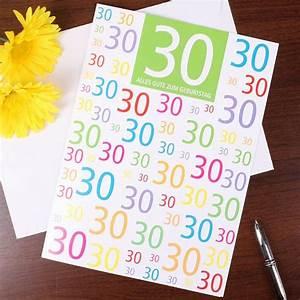 30 Dinge Zum 30 Geburtstag : gl ckwunschkarte zum 30 geburtstag in xl ~ Bigdaddyawards.com Haus und Dekorationen